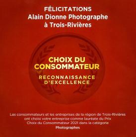 Alain Donne Photographe Choix du Consommateur 2021 à Trois-Rivières Certificat